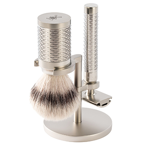 Muhle Rocca Stainless Steel Shaving Set with Synthetic Brush