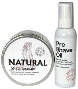Natural Shaving Cream and Pre Shave Oil Set