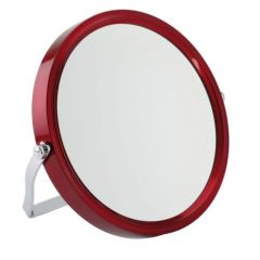 5x Magnification Ruby Red Framed Round Travel Mirror