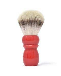 Alpha Large Retro Synthetic Shaving Brush in Deep Coral Red