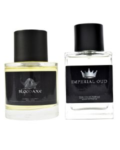 Eau de Parfum set containing Bloodaxe and Imperial Oud fragrances by Pocket Scents who are based in Glasgow UK