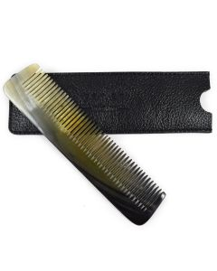 Real Ox Horn Pocket Comb & Leather Case