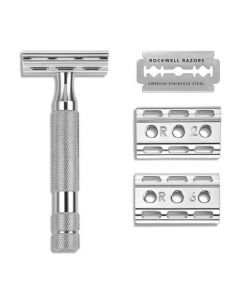 Rockwell 6C Safety Razor with 6 Settings in White Chrome