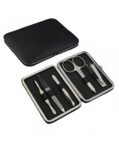 Dovo of Solingen 5 piece Manicure Set in Black Nappa Leather Case
